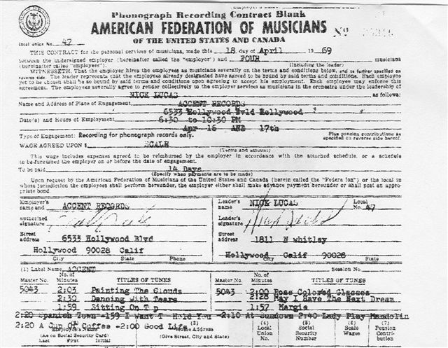 Nick's 1969 Accent Records Contract
