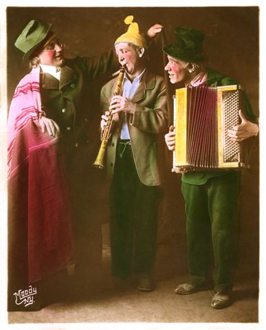 The Three Vagrants - 1918 - John Bergamasco, Angelo Mignella and Frank Lucanese on accordion -  Photo courtesy of Richard Harris